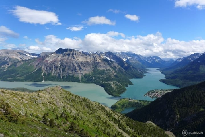 View of Upper and Middle Waterton Lakes