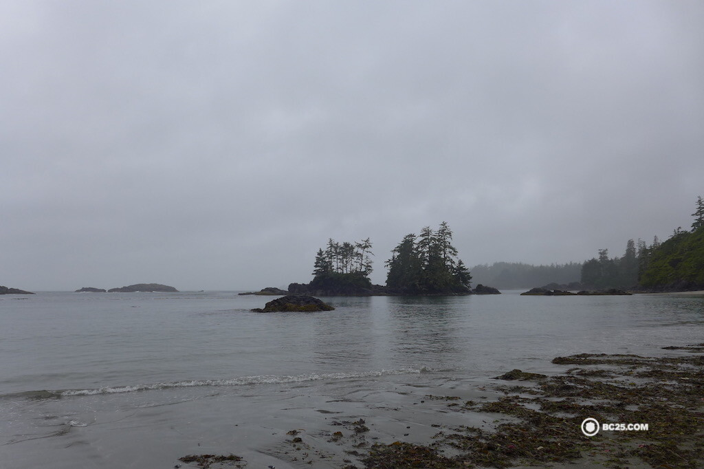 Grey skies and beautiful, wild beaches in Tofino.