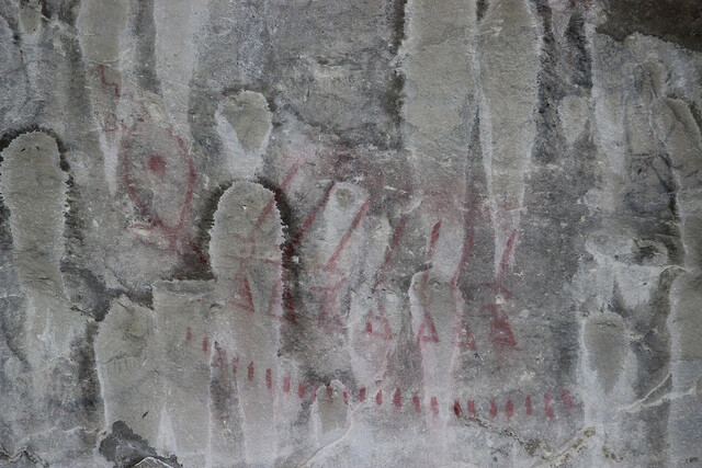 Pictographs in Pictograph Cave at Pictograph Cave State Park