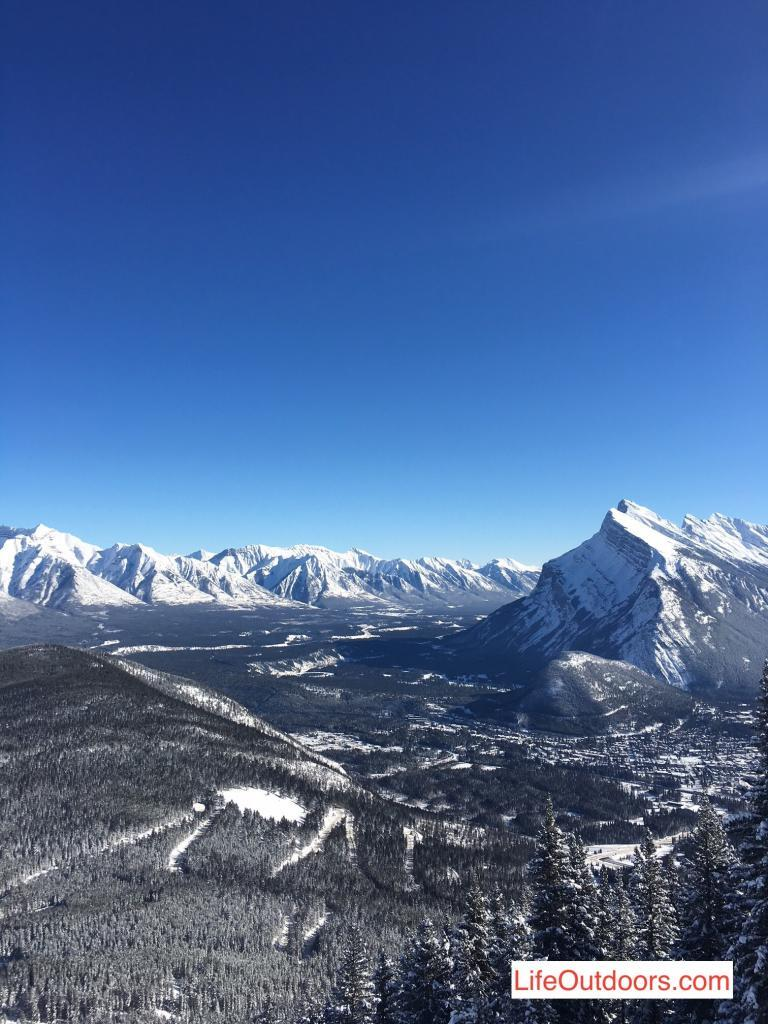 View of Banff and the Bow Valley from Mount Norquay ski area.