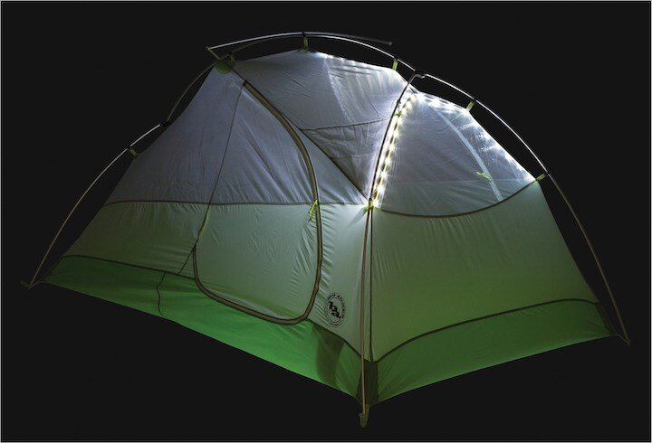 The Big Agnes tent all lit up at night.