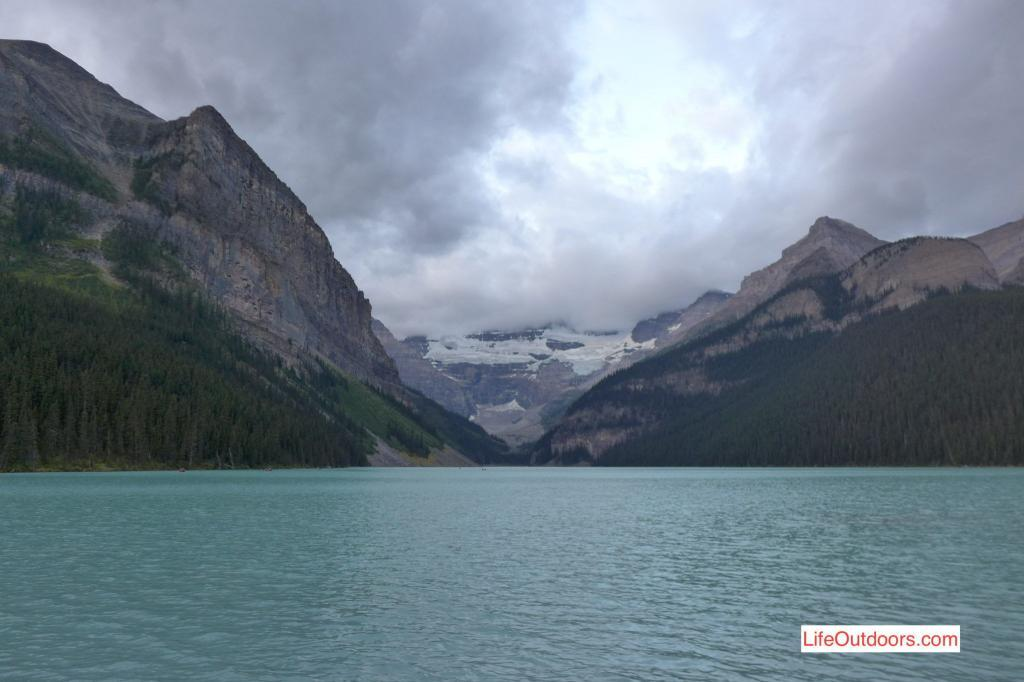 Take in the classic view of the Victoria glacier in Lake Louise.