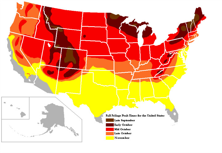 fall foliage map in united states