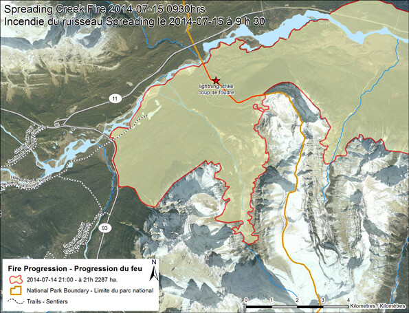 Map of the Spreading Creek wildfire