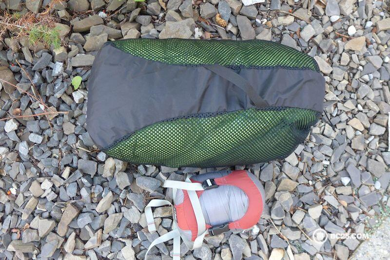 Storage sack and compression sack shows good comparison how small a down sleeping bag can pack and how big it should be when stored.