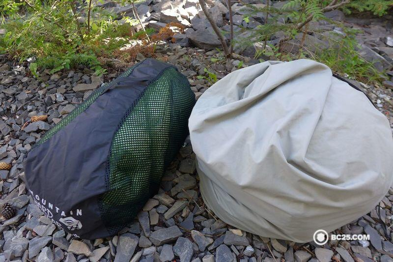 Here are two sleeping bags in their storage sacks. Most sleeping bags will come packaged in the bag they should be stored in.