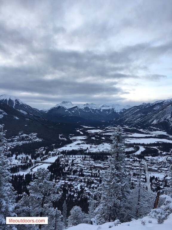 You can hike up Tunnel mountain all year long. This is the view from the summit in the winter.