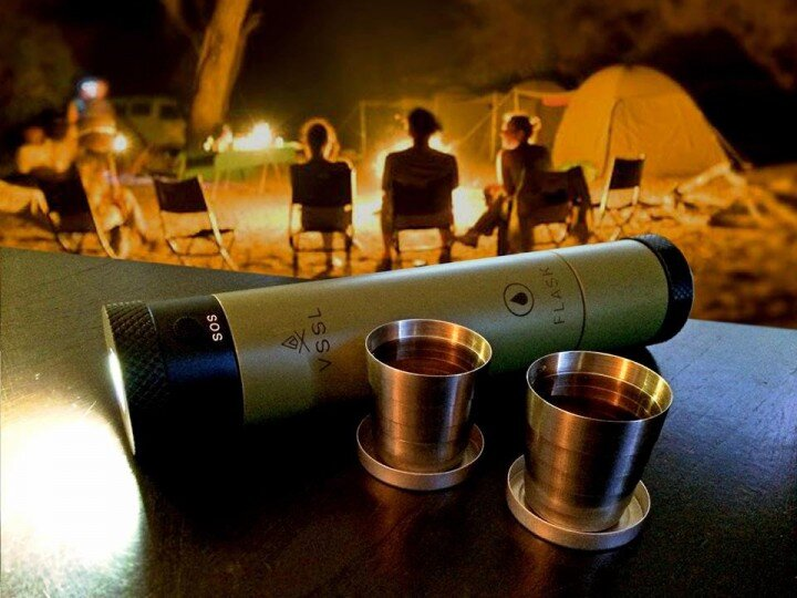 vssl flask shot glasses camping