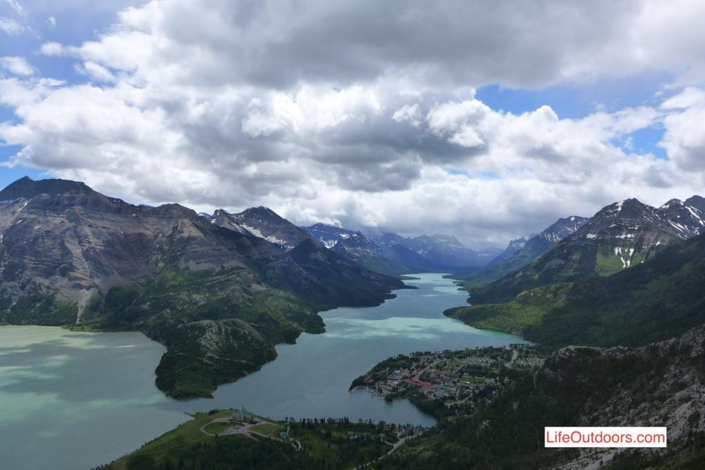 Waterton townsite view from Mount Crandell.